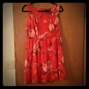 Orange red floral dress